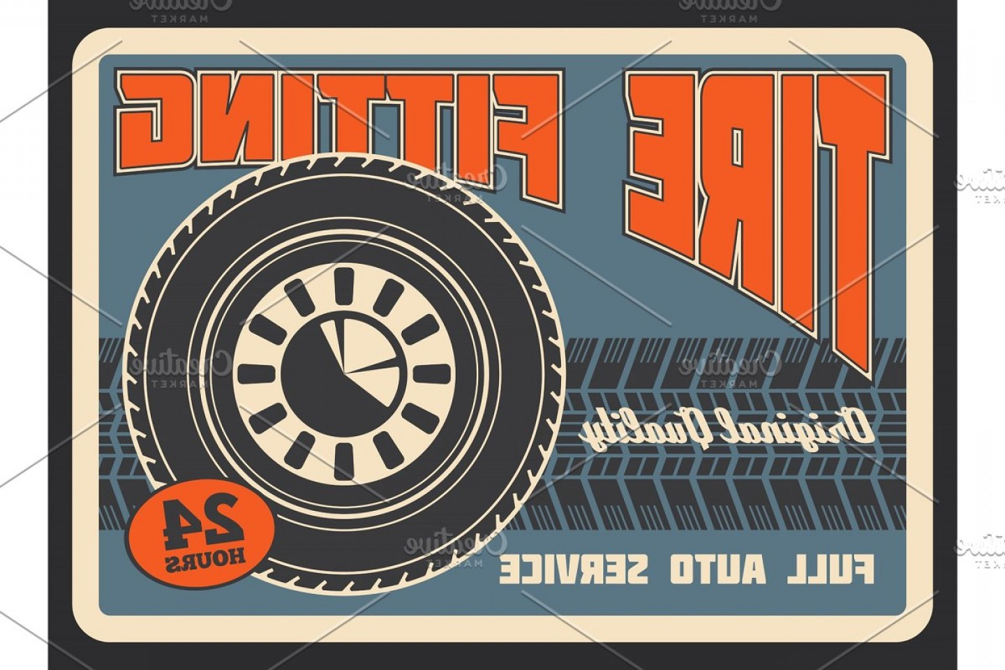 Retro Poster Vector: Retro Poster For Car Tire Fitting