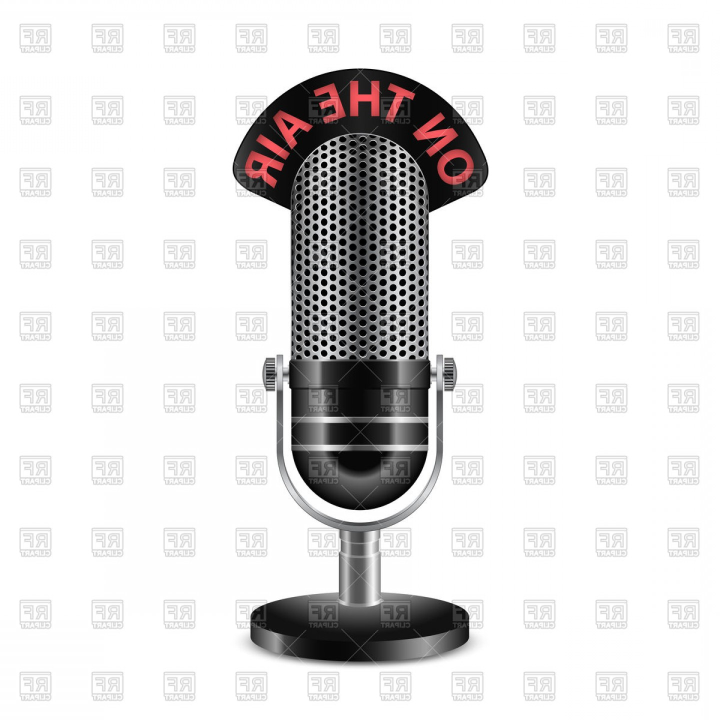 Microphone Recording Vector: Retro Radio Microphone With On The Air Caption Vector Clipart