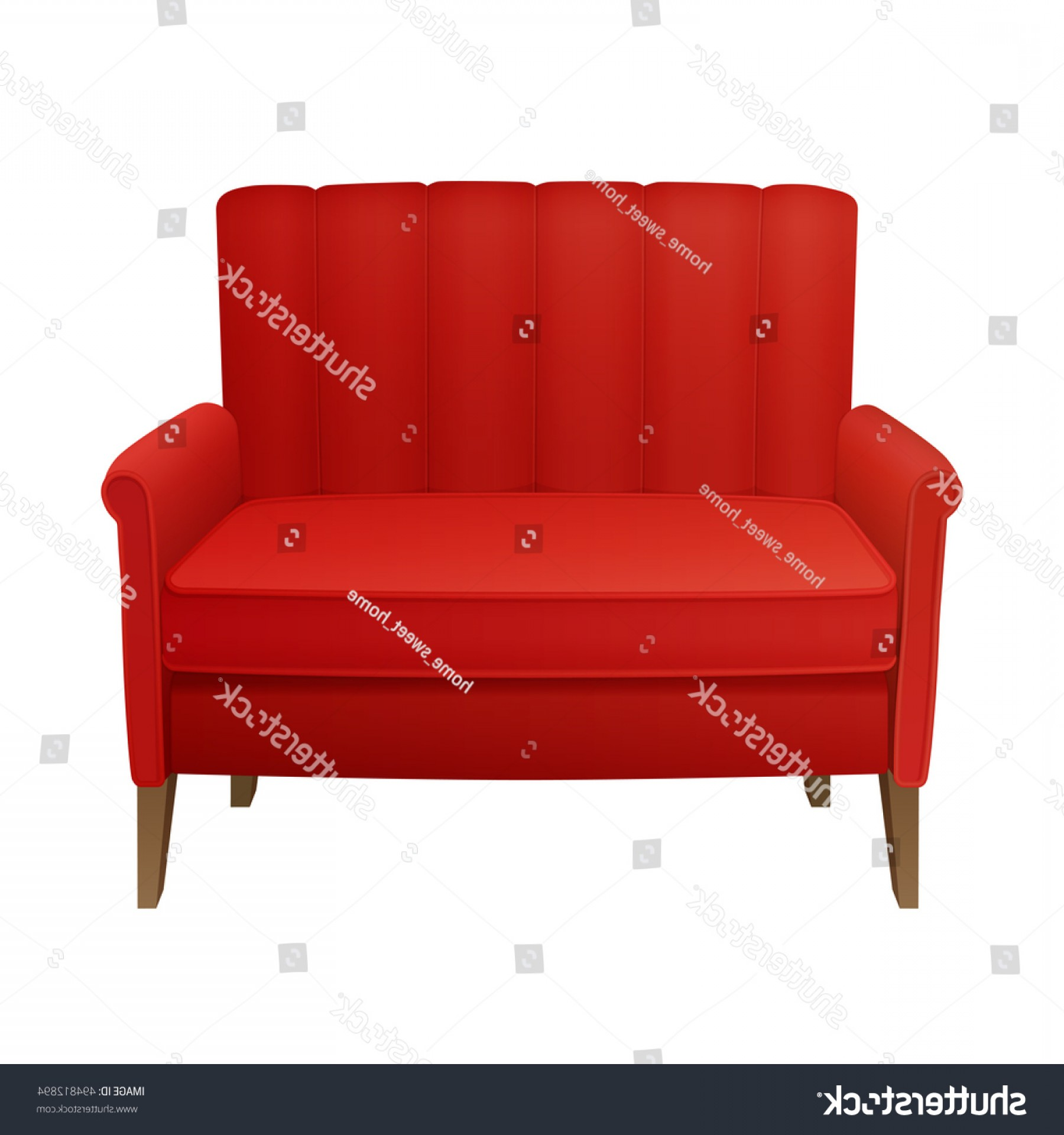 Back Of The Couch Vector: Retro Red High Quilted Back Sofa