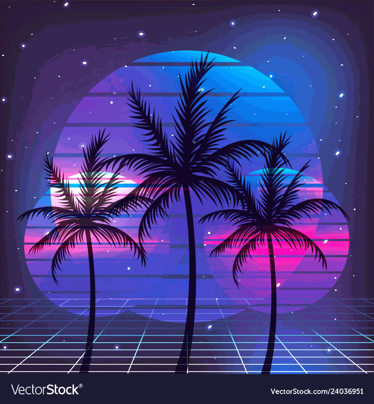 Vectorgraph 80s: Retro S Palms Style With Graphic Background Vector