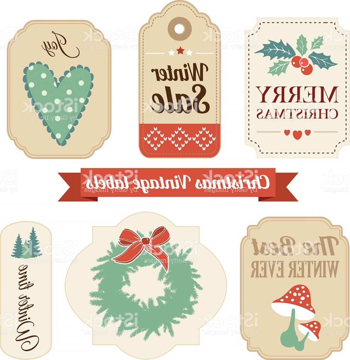 Vintage Xmas Sale Tag Vector: Retro Set Of Christmas Vintage Gift Sale Labels Tags Gm