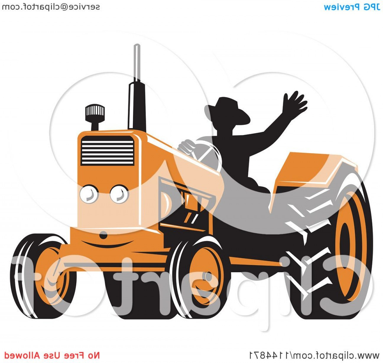 Free Tractor Vector: Retro Silhouetted Farmer Waving And Operating An Orange Tractor