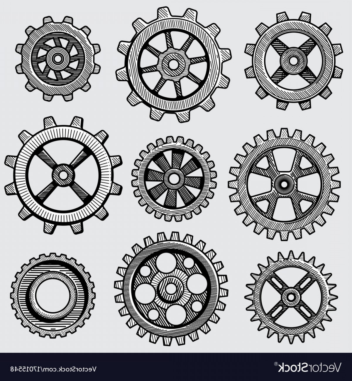 Vector Mechanical Clock Wheels: Retro Sketch Mechanical Gears Hand Drawn Vintage Vector