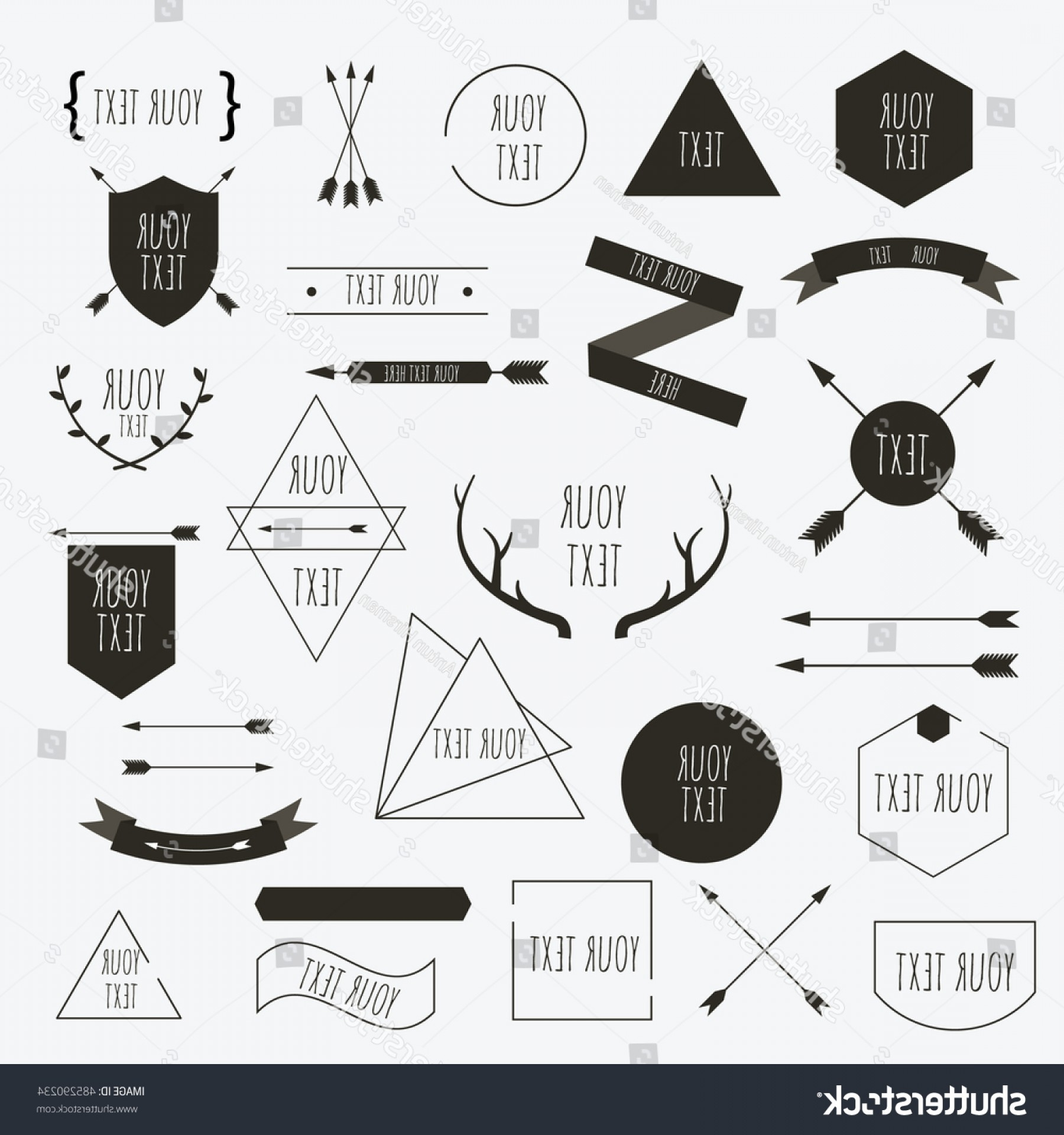 Hipster Vector Ribbon: Retro Style Design Elements Arrows Boho