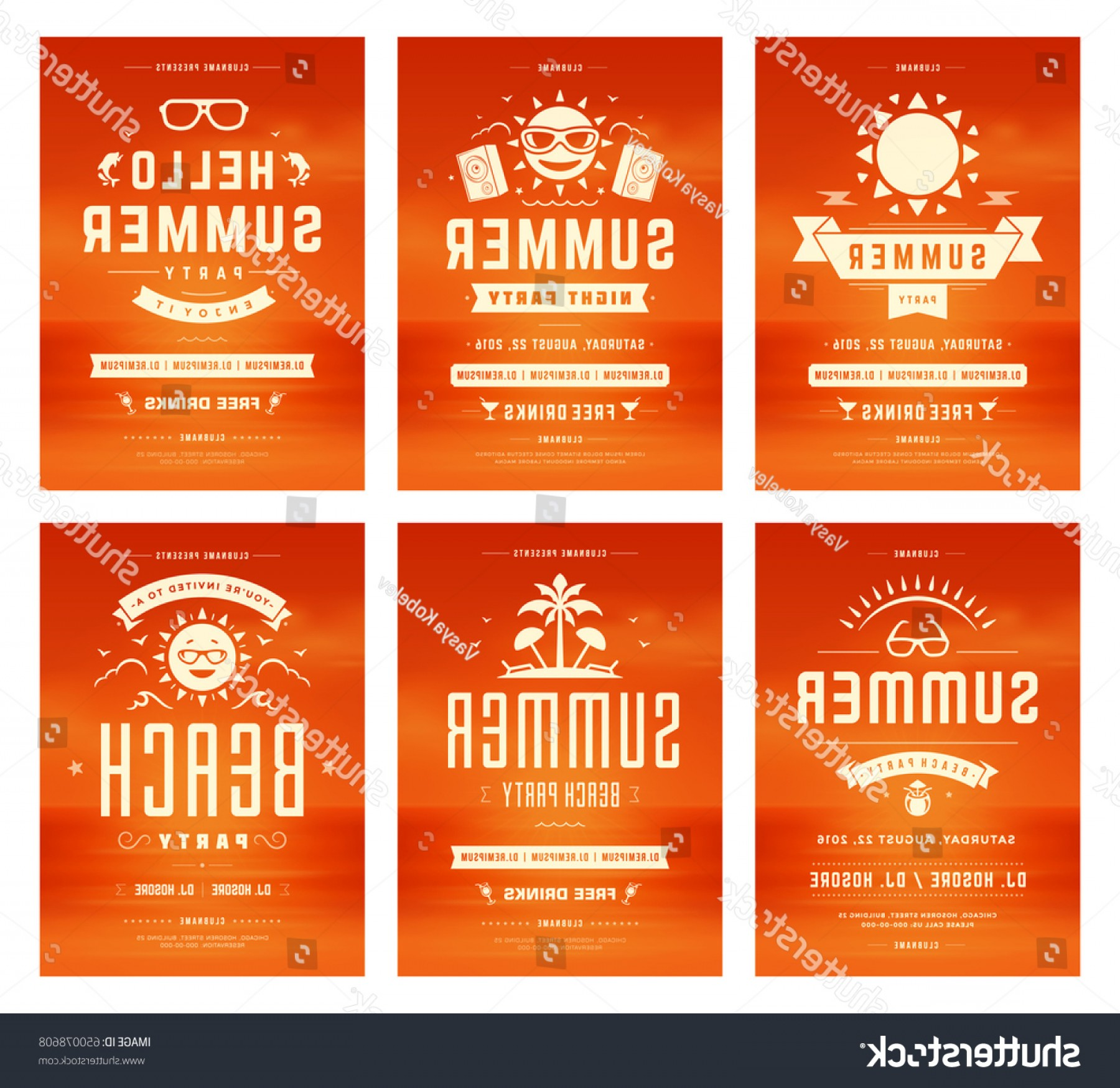 Vector Posters Design: Retro Summer Party Design Posters Flyers