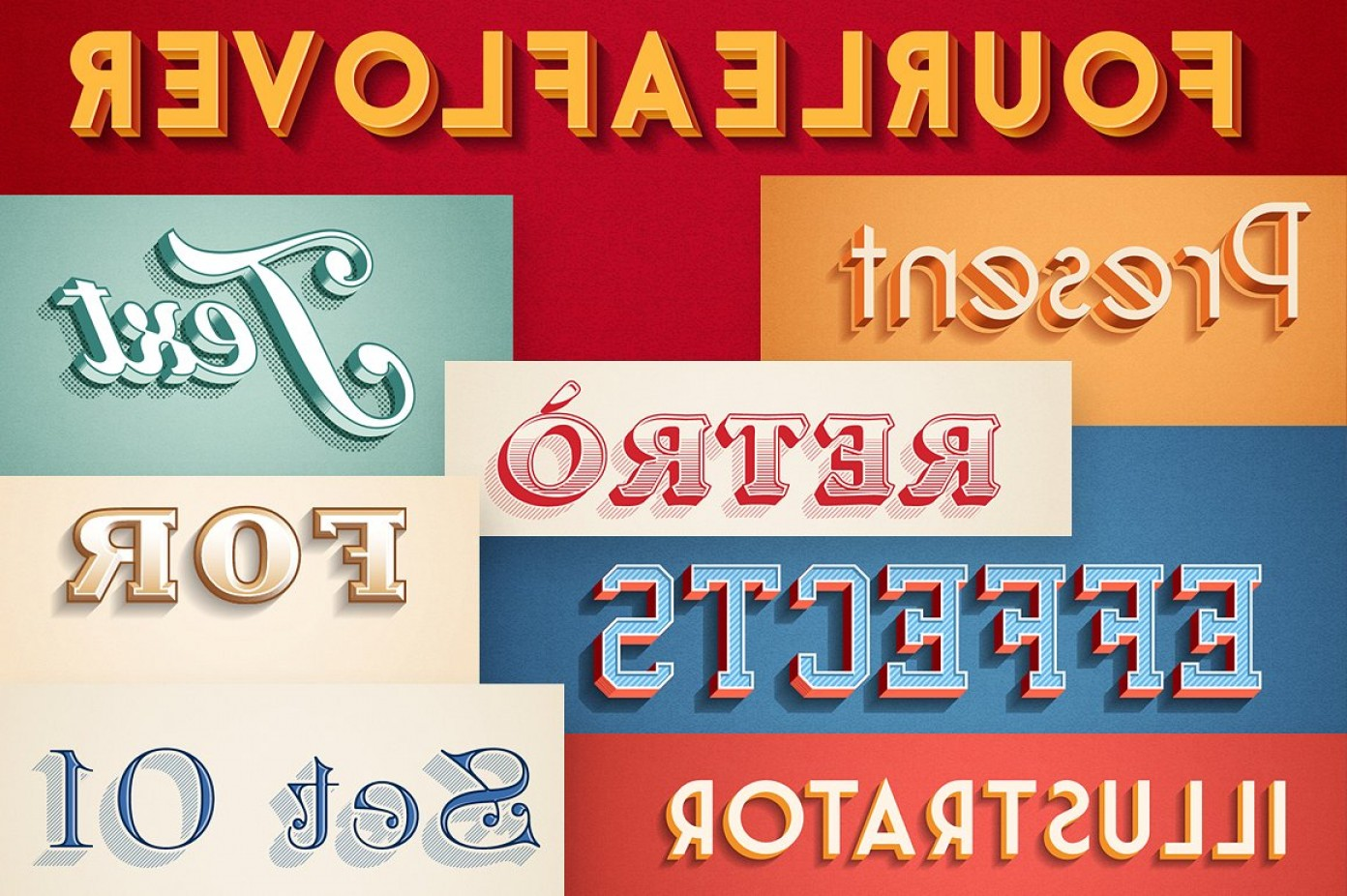 Text Illustrator Vector: Retro Vintage Text Effects For Illustrator And Photoshop