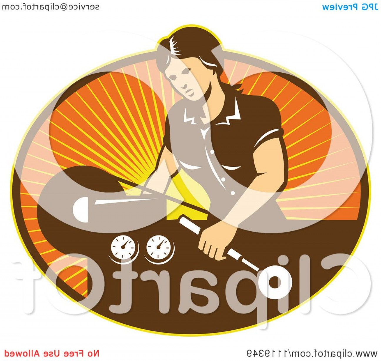 Hand Lathe Vector: Retro Woman Operating A Lathe Machine Over Rays