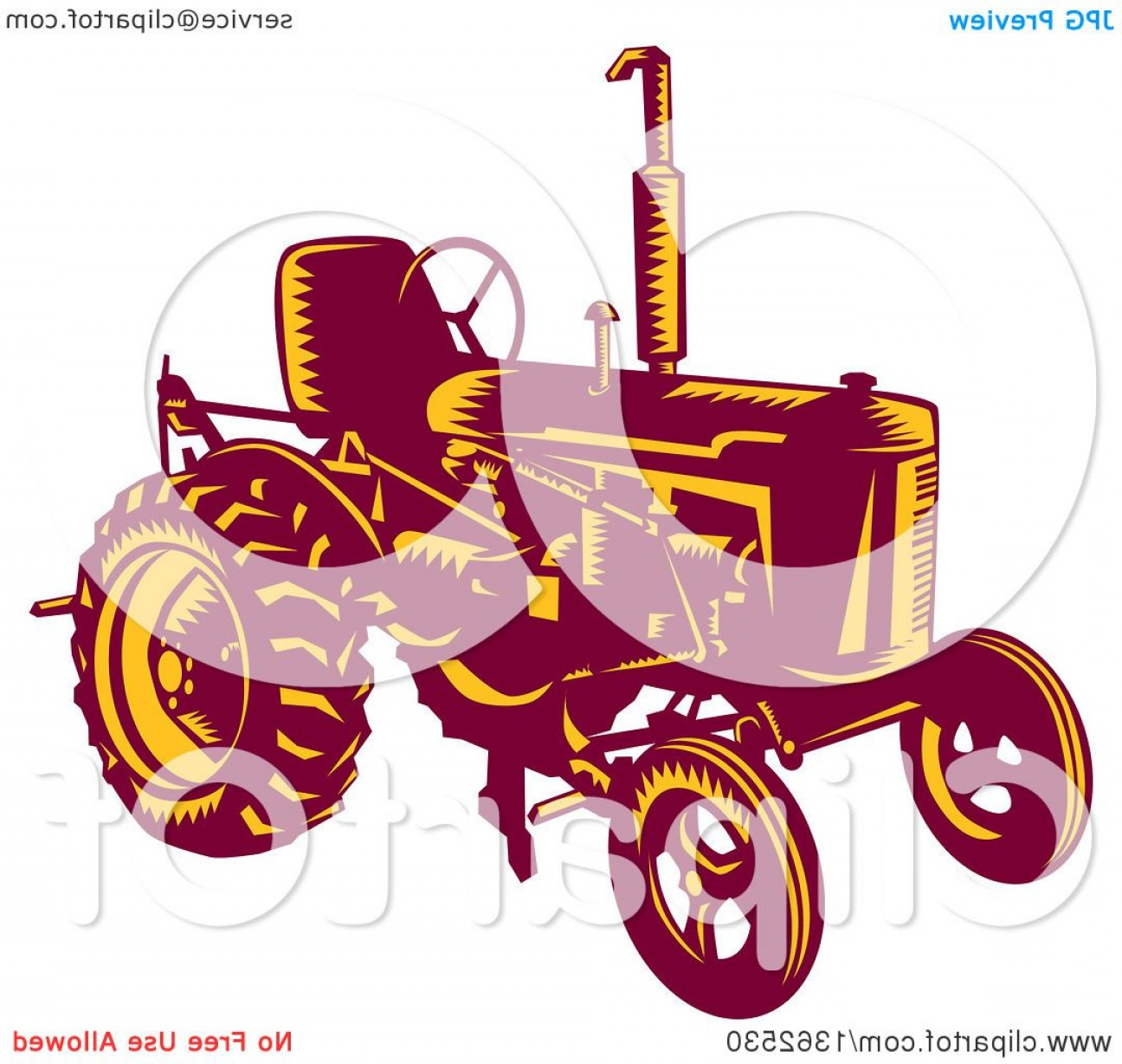 Free Tractor Vector: Retro Woodcut Maroon And Yellow Vintage Farming Tractor