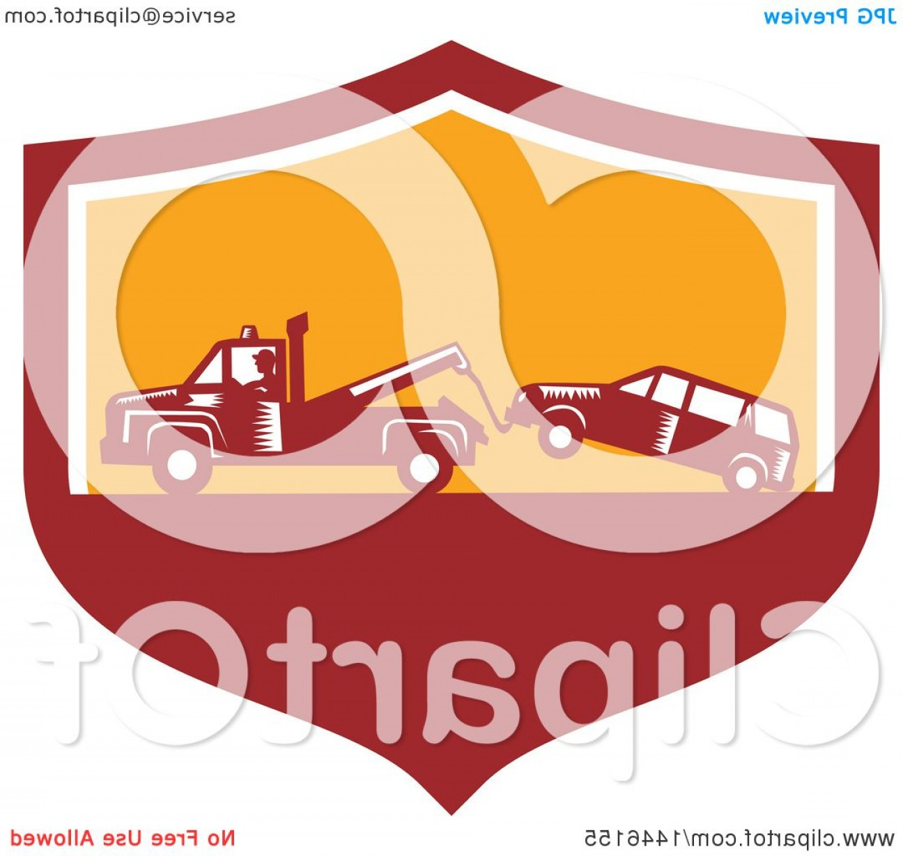 Tow Chain Vector: Retro Woodcut Tow Truck Driver Hauling A Car In A Red White And Orange Shield