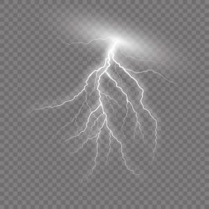 Realistic Lightning On Checkered Background Vector