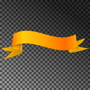 Fabric Orange Ribbon Vector: Realistic Shiny Orange Ribbon Banner Isolated Vector
