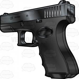 Vector SDP Pistol: Rear Side View Of A Glock Semi Automatic Short Recoil Pistol