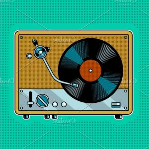 Record Player Vector: Record Player Turntable Pop Art Vector