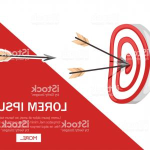 Flying Arrow Vector: Red Archery Target With Two Arrows In The Center Flying Arrow Flat Vector Gm