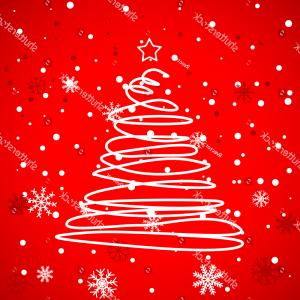 Swirly Christmas Tree Vector: Red Christmas Template Swirly Tree Vector
