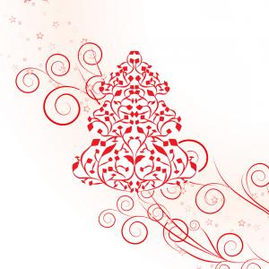 Swirly Christmas Tree Vector: Abstract Christmas Tree Clipart Black And White