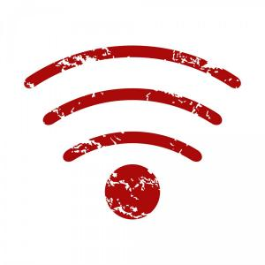 Wi-Fi Logo Vector: Red Grunge Wi Fi Logo Vector