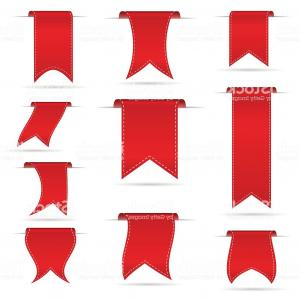 Ribbon Banner Vector Line: Red Hanging Curved Ribbon Banners Set Eps Gm