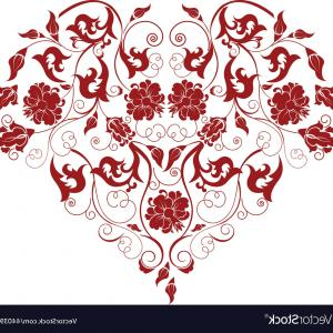 Vector Filigree Heart: Red Heart With Filigree Ornament Vector