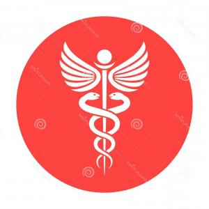 With Red Caduceus Vector: Photostock Vector Medical Caduceus Symbol Caduceus White Red And Black Graphic Emblem Vector Illustration