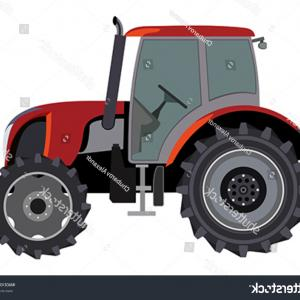 Vector Red Tractor: Agricultural Tractor Farm Vehicle Vector