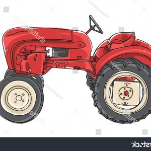 Vintage Tractor Vector Art: Stock Vector Farmer Driving Vintage Tractor Retro Woodcut