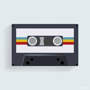 Audio Cassette Vector: Cassette Tape Old Musical Audio Vector