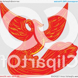 Firebird Vector Transparent Background: Retro Engraved Or Sketched Phoenix Bird Rising