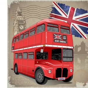Pic Bus Vector Format: Retro London Background With Red Bus Vector