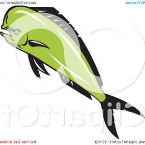 Mahi Mahi Outline Vector Images: Vector Image Dolphin Silhouette On White Background Illustration