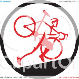 Vector Retro Guy: Retro Male Cyclocross Athlete Running And Carrying Bicycle On His Shoulders In A Black White And Red Circle