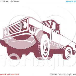Pick Up Truck Front Vector: Retro Red Pickup Truck From The Low Front