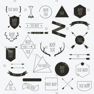 Hipster Vector Ribbon: Photostock Vector Set Of Decorative Vintage Elements Ribbon And Hipster Round Badge With Sunbeams Border And Frame Min