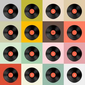 Vinyl Roll Vector: Abstract Music Background Vinyl Disk Vector