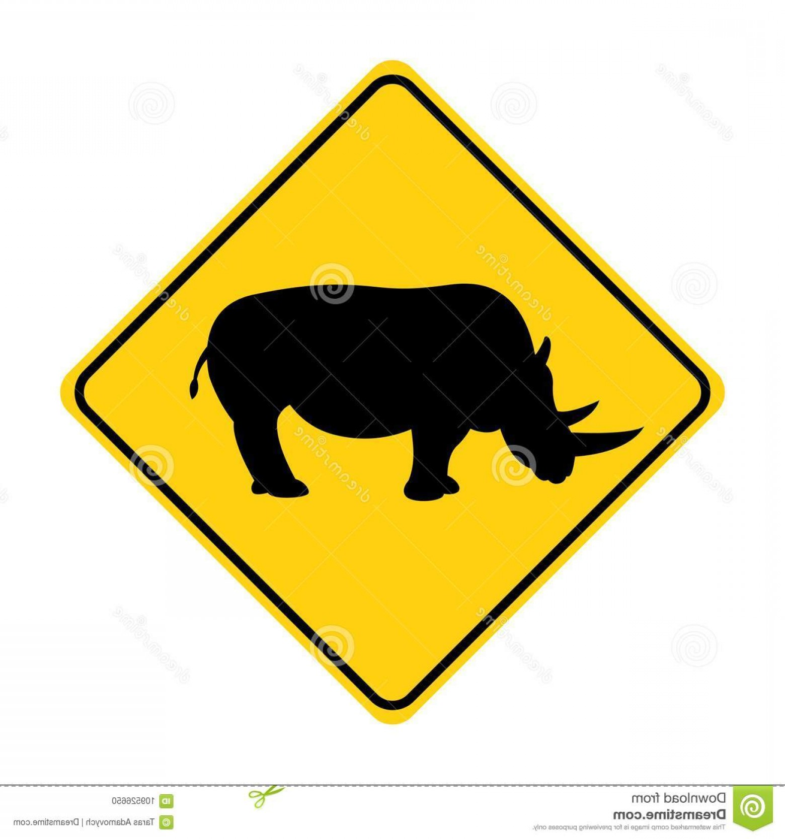 Road Sign Silhouette Vector Bear: Rhino Silhouette Animal Traffic Sign Yellow Vector Illustration Rhino Silhouette Animal Traffic Sign Yellow Vector Image