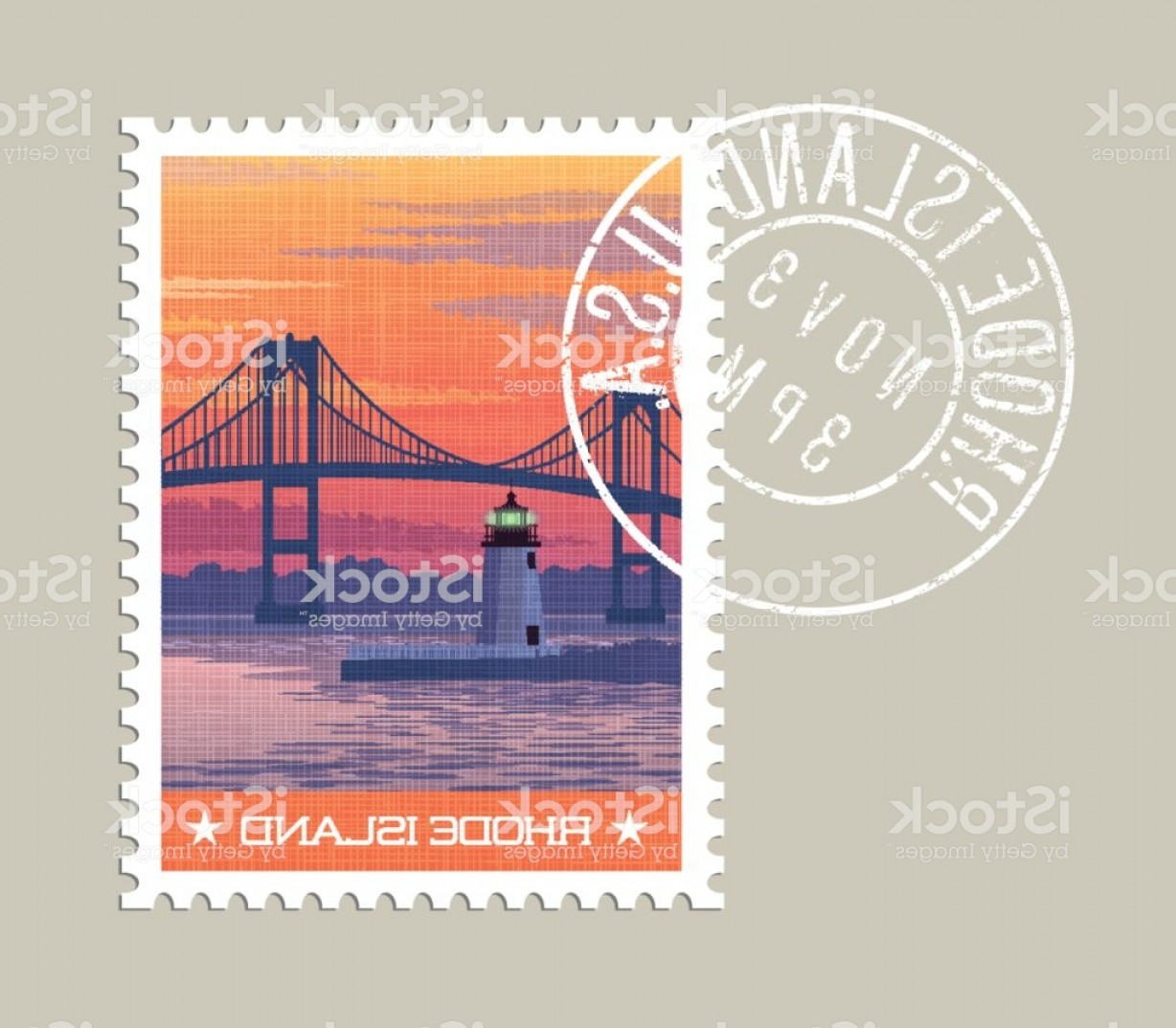 Vector Scissors Truss: Rhode Island Postage Stamp Design Vector Illustration Of Newport Bridge And Harbor Gm