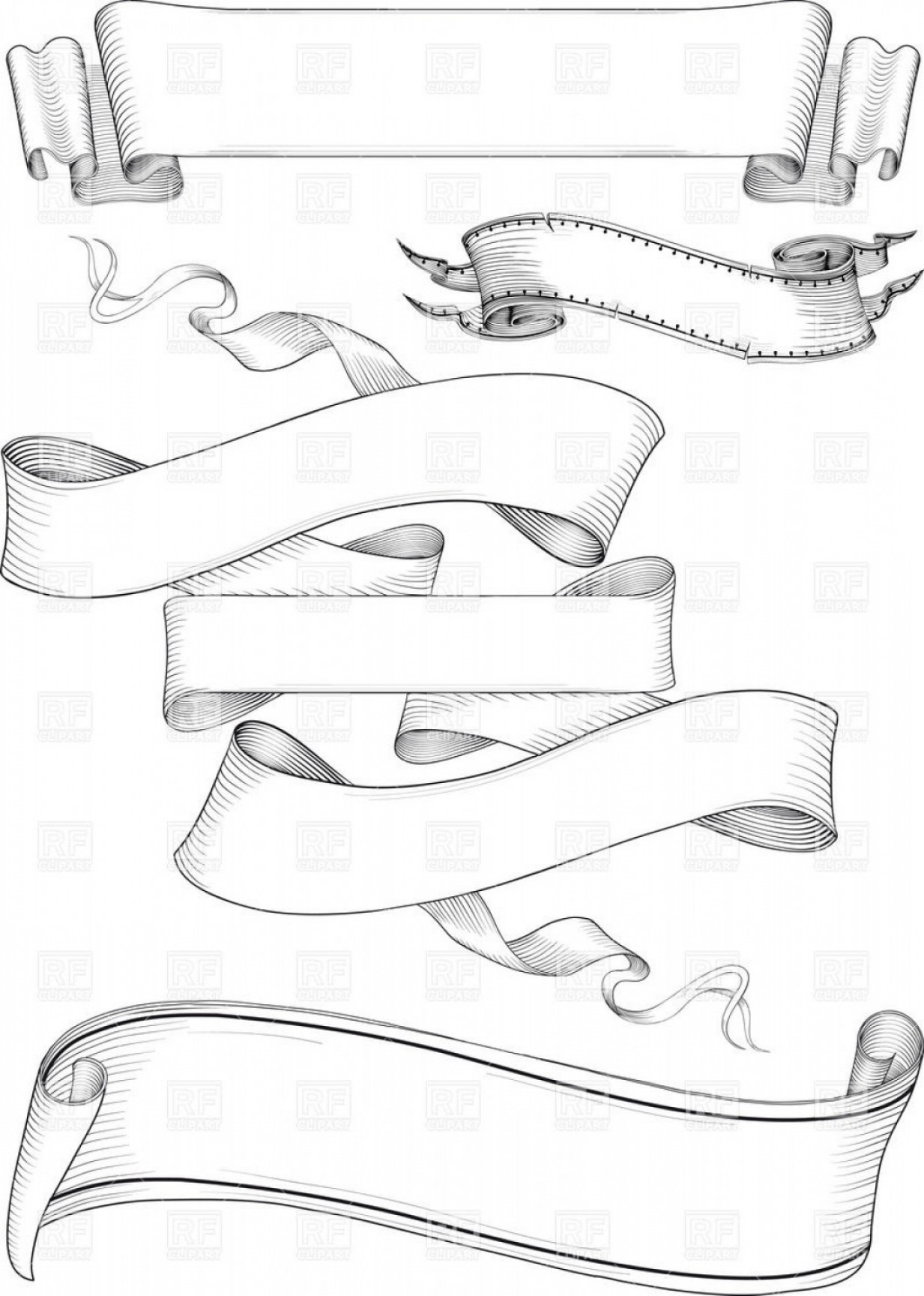 Ribbion Banner Vector: Ribbon Banners In Engraving Style Vector Clipart