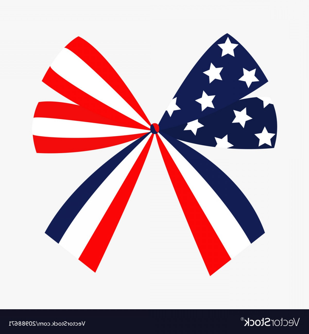 American Flag Stars Only Vector: Ribbon Bow Shape American Flag Stars And Strips Vector