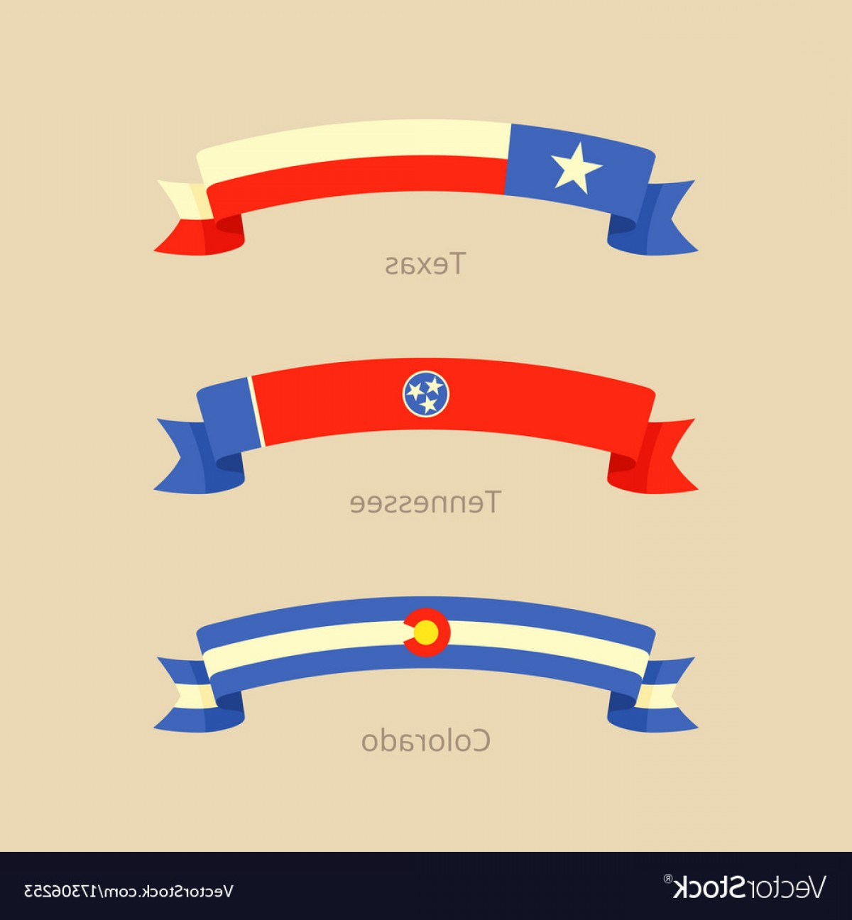 Tennessee Flag Vector: Ribbon With Flag Of Texas Tennessee And Colorado Vector