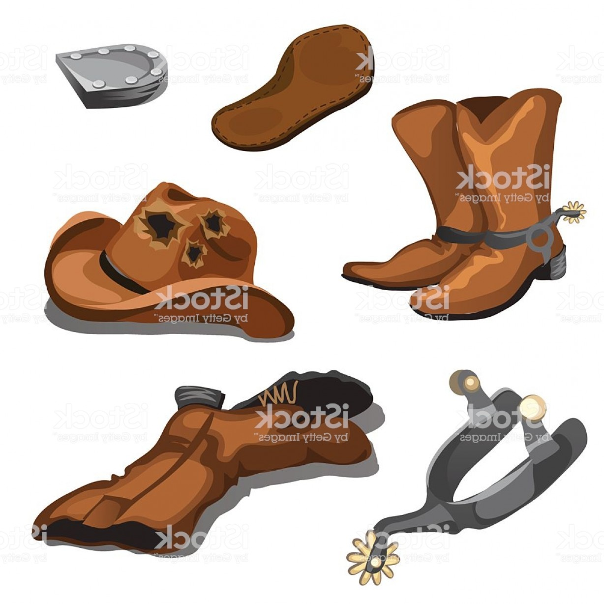 Spurs Clip Art Vector: Ripped Worn Cowboy Boots Hat And Spurs Gm