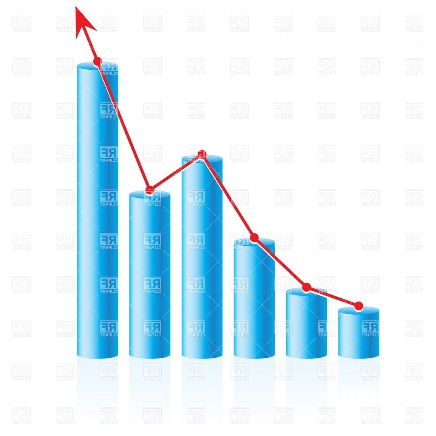 Bar Graph Icon Vector: Rising Up Business Bar Graph Vector Clipart