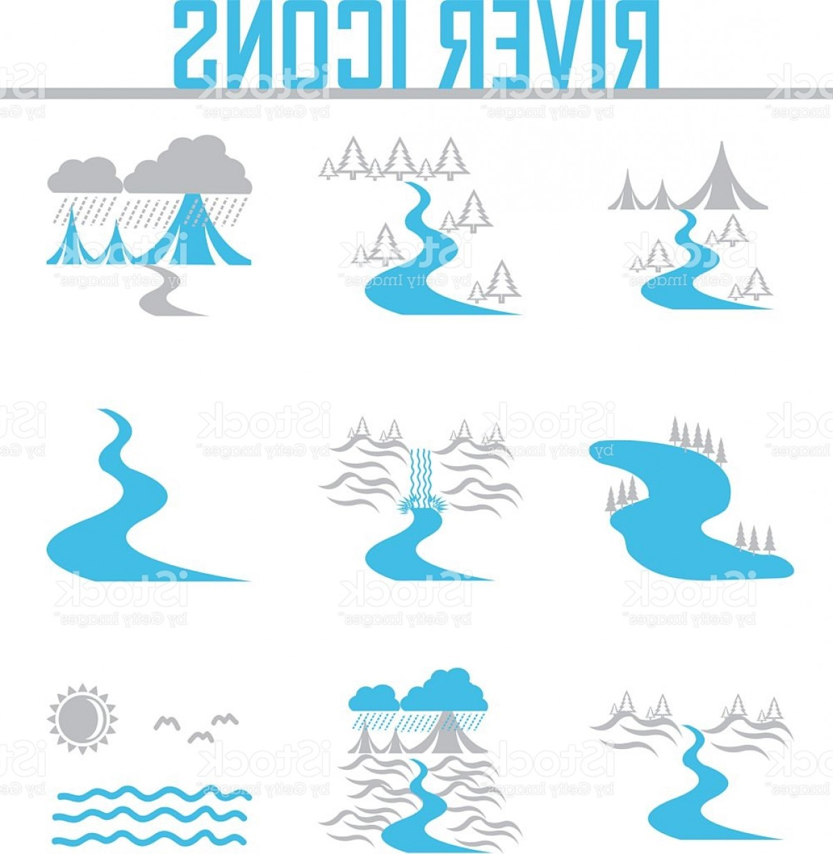 River Silhouette Vector Art: River And Landscape Icons Gm