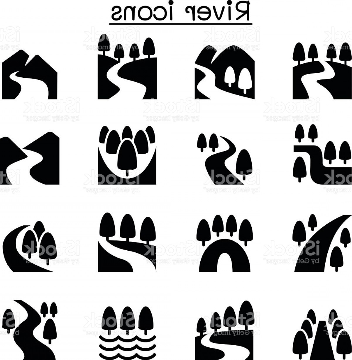 River Silhouette Vector Art: River Lake Canal Nature Icons Set Gm