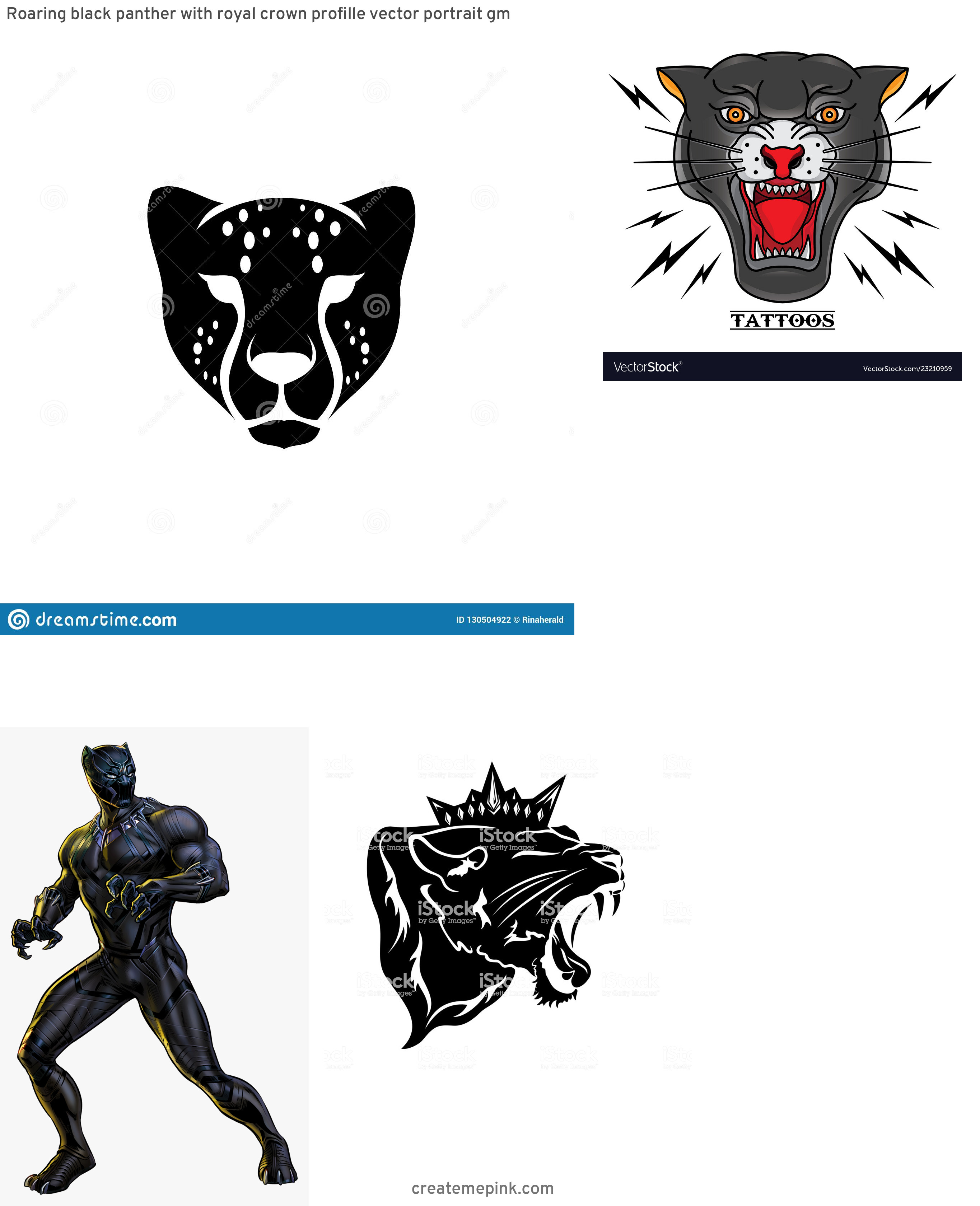 Black Panther Mask Vector: Roaring Black Panther With Royal Crown Profille Vector Portrait Gm