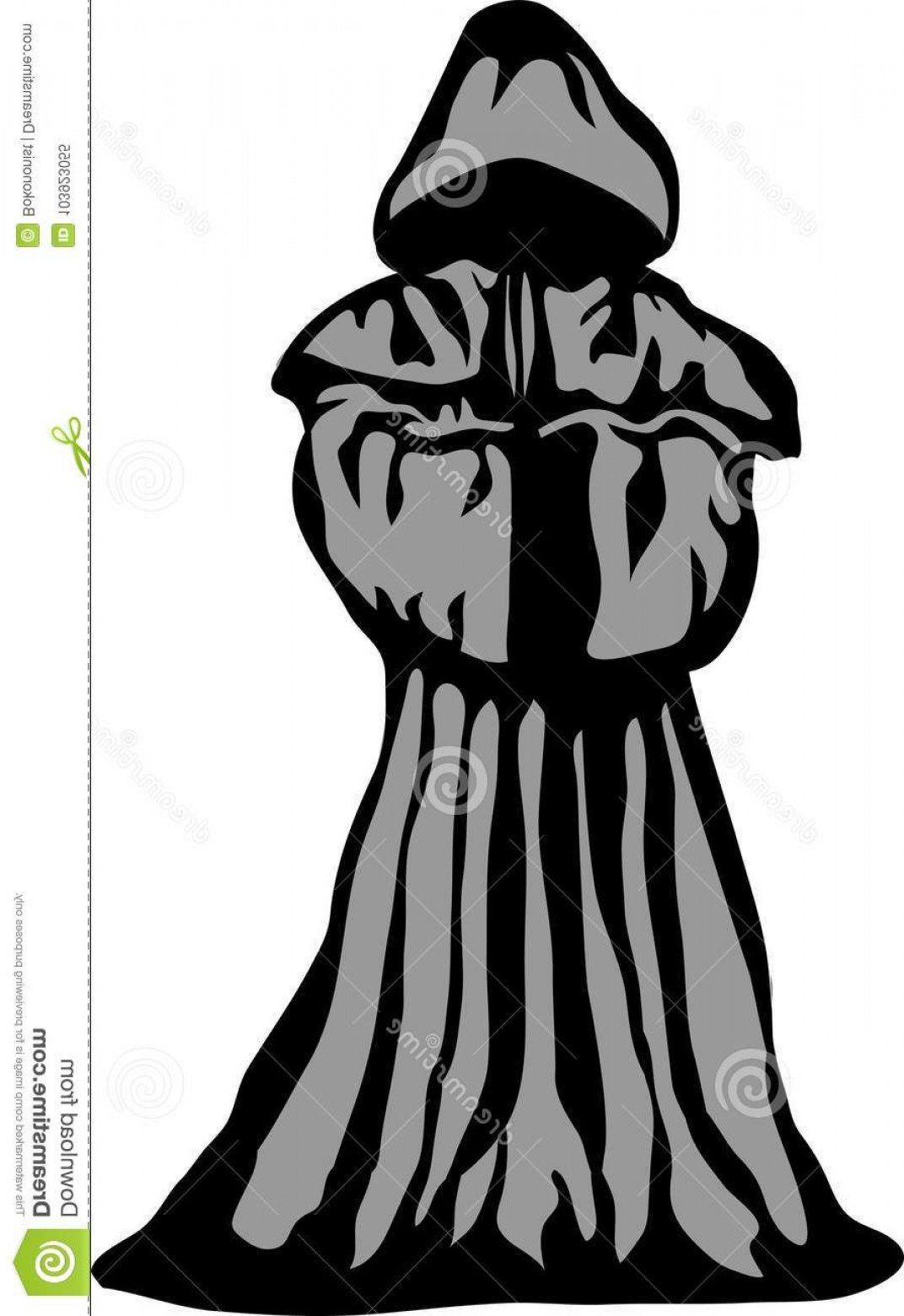 Catholic Clip Art Vector: Robed Person Stylized Black Grey Vector Illustration Medieval Catholic Monk Image