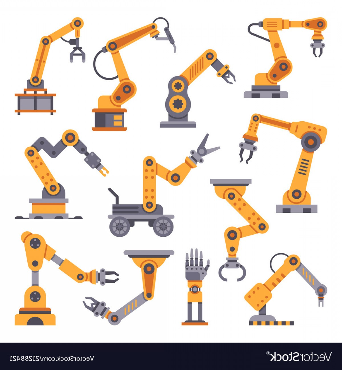 Vector Manufacturing Machine: Robotic Arms Set Manufacturing Automation Vector