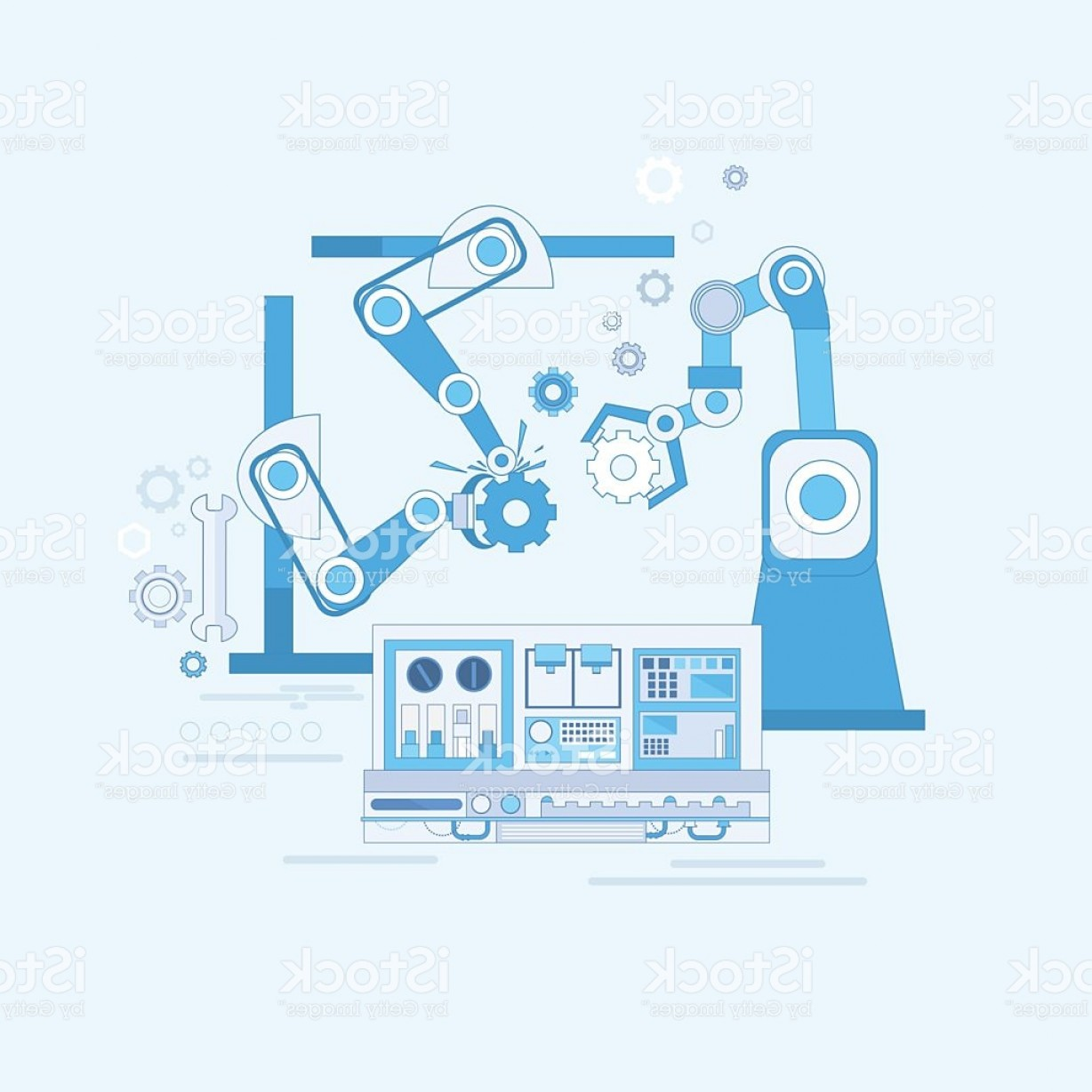 Industrial Vector Art: Robotic Assembly Line Industrial Automation Industry Production Web Banner Gm