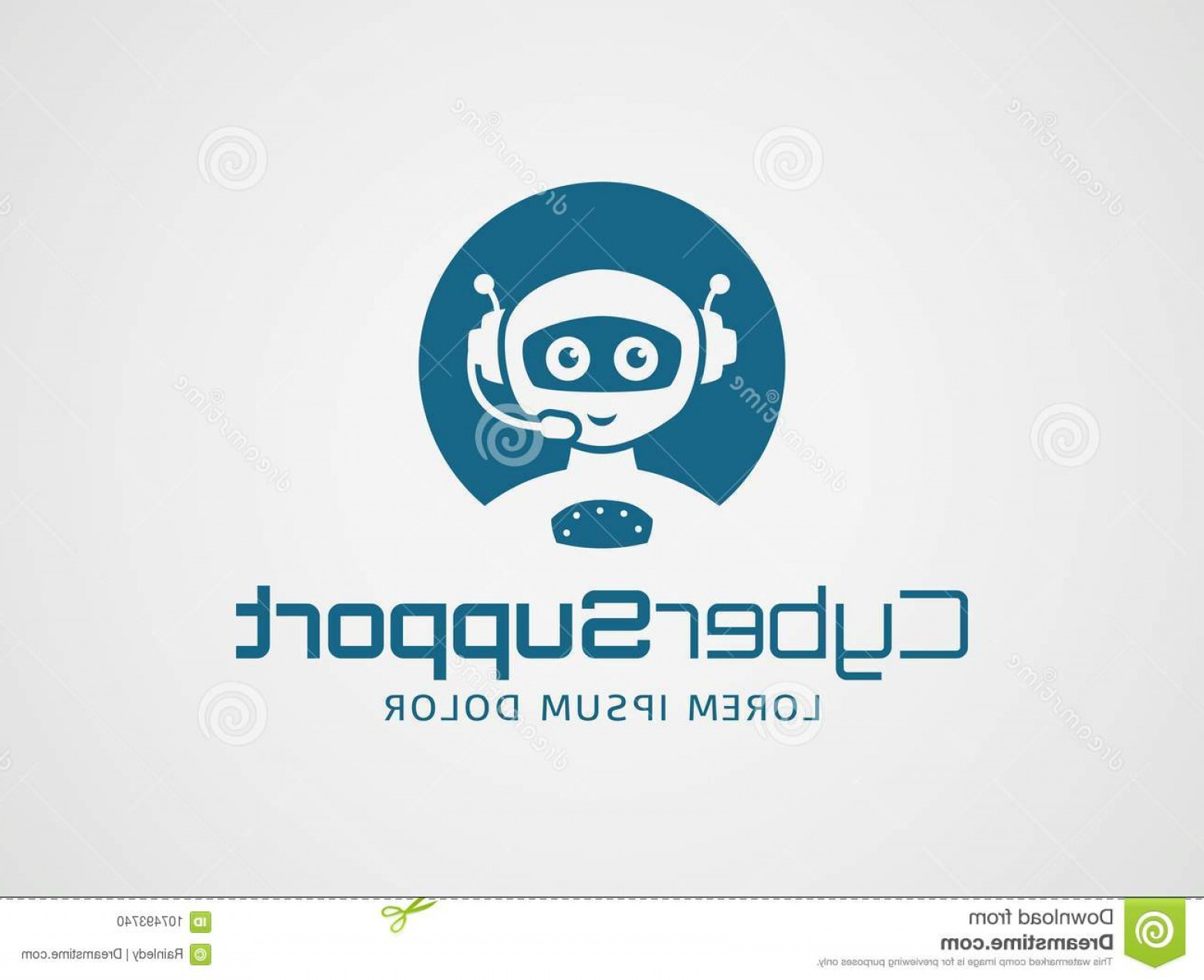 Support Vector Graphics: Robotic Customer Support Vector Logo Smart Robot Headset Template Isolated White Background Artificial Intelligence Image