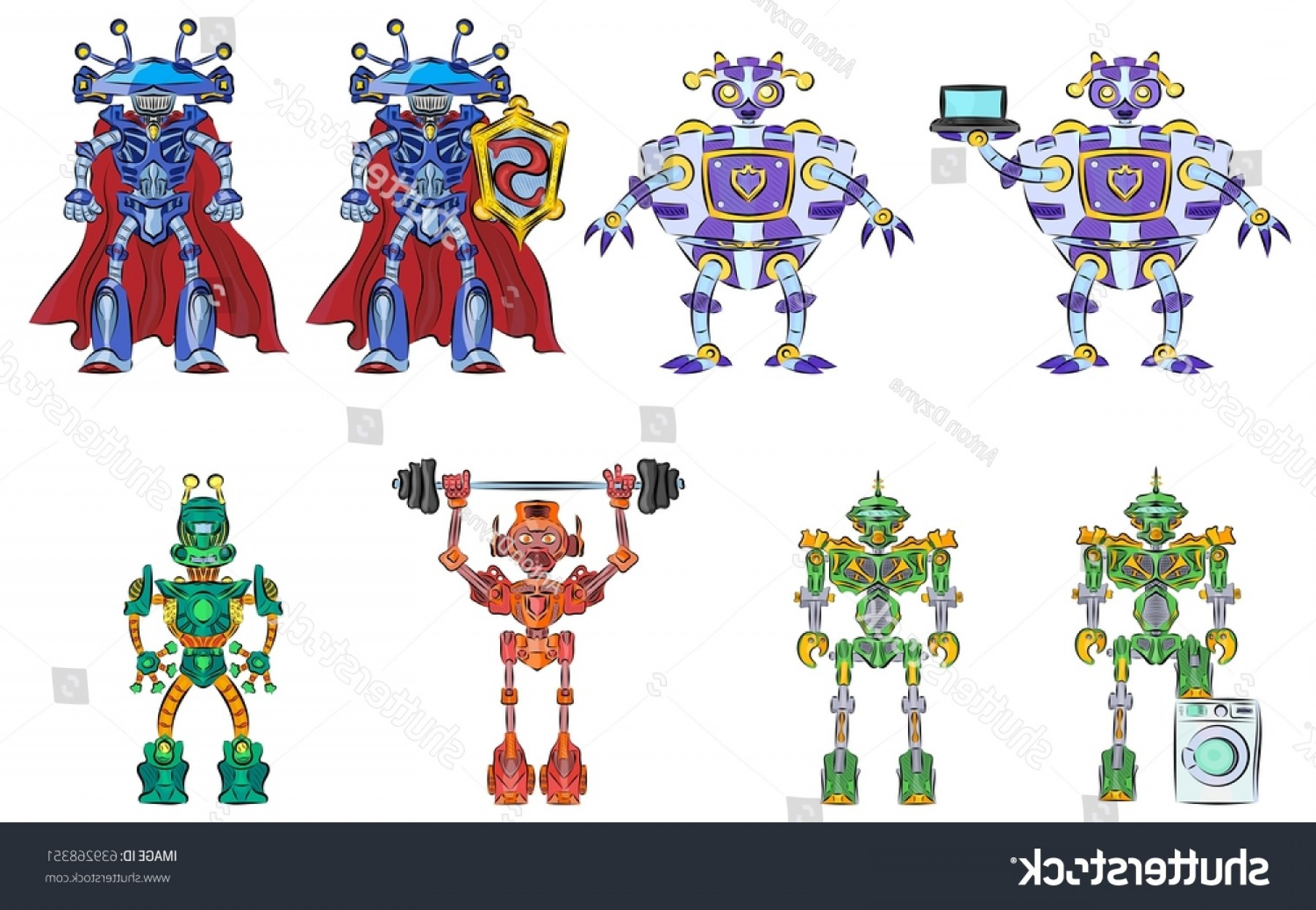 Transformers Vector Art: Robots Androids Transformers Selection Multicolored Machines