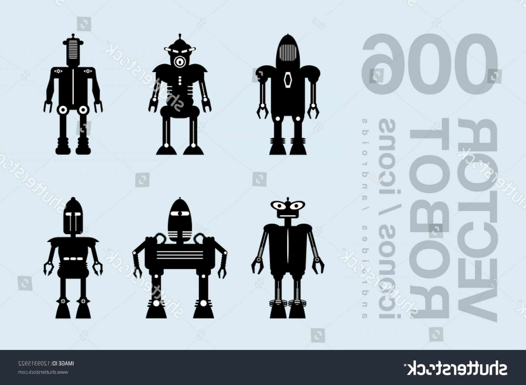 Boba Fett Silhouette Vector: Robots Flat Icons Robot Clipart